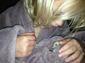 me, when I was little, and a rescue baby chick