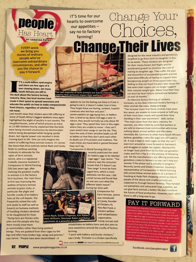 Article in People Magazine mentioning the work we do August 2015